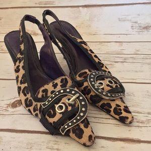 Leopard print sling back kitten heels